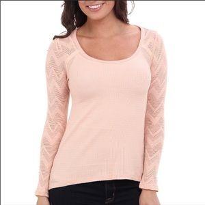 Lucky Brand pink long sleeve waffle knit shirt